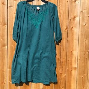 Green blue summer dress with slip from Sonoma